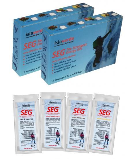Super energetyzujący żel SEG (The Strongest Energy Gel), podwójny zestaw 18x30 g, smaki do wyboru